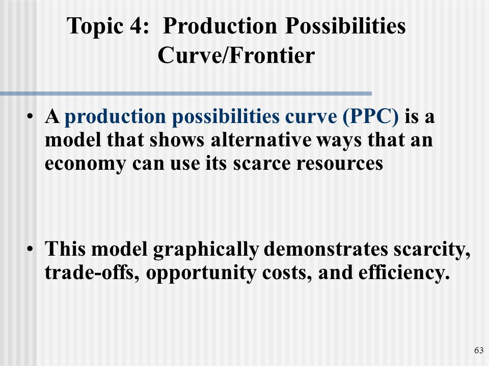 Topic 4: Production Possibilities Curve/Frontier