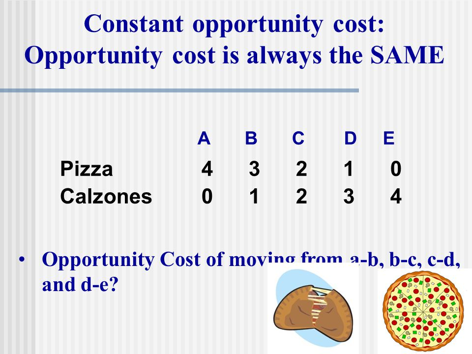 Constant opportunity cost: Opportunity cost is always the SAME