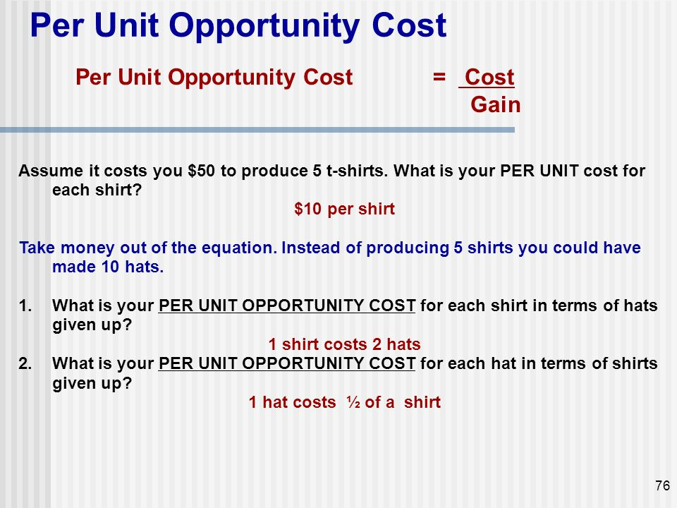 Per Unit Opportunity Cost