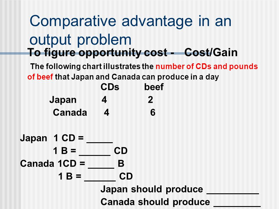 Comparative advantage in an output problem