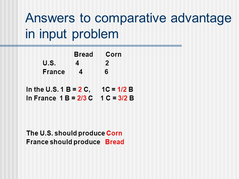 Answers to comparative advantage in input problem