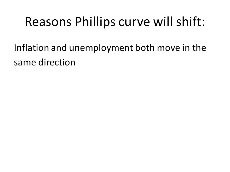 Reasons Phillips curve will shift: