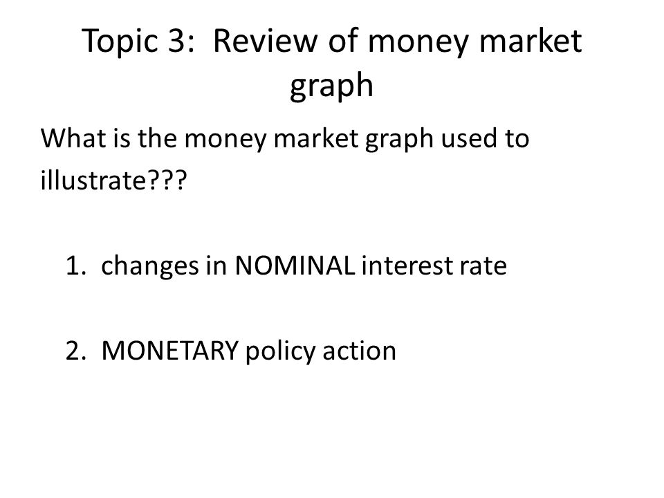 Topic 3: Review of money market graph