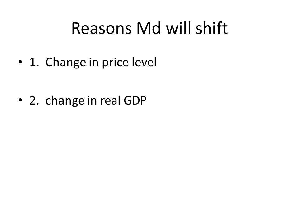 Reasons Md will shift 1. Change in price level 2. change in real GDP