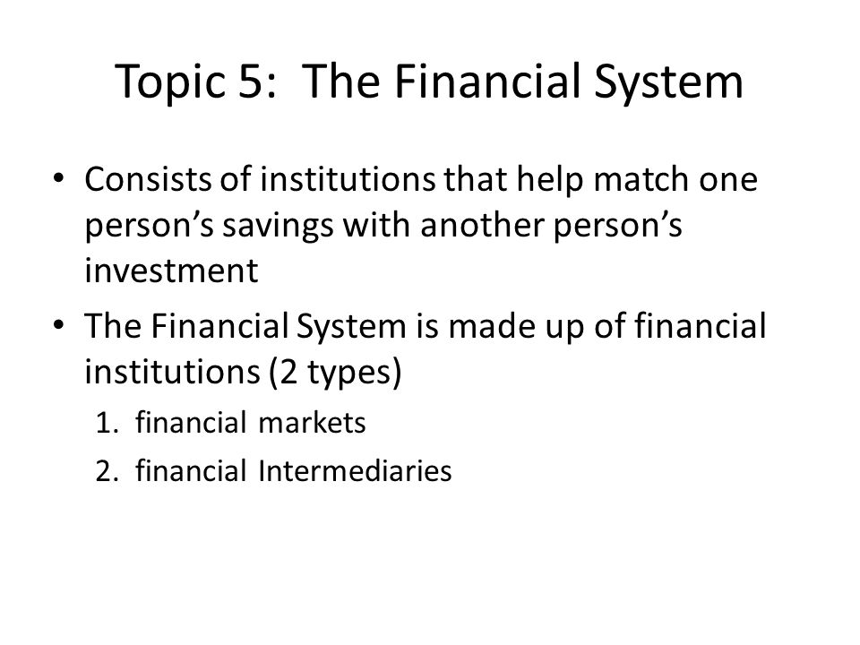 Topic 5: The Financial System