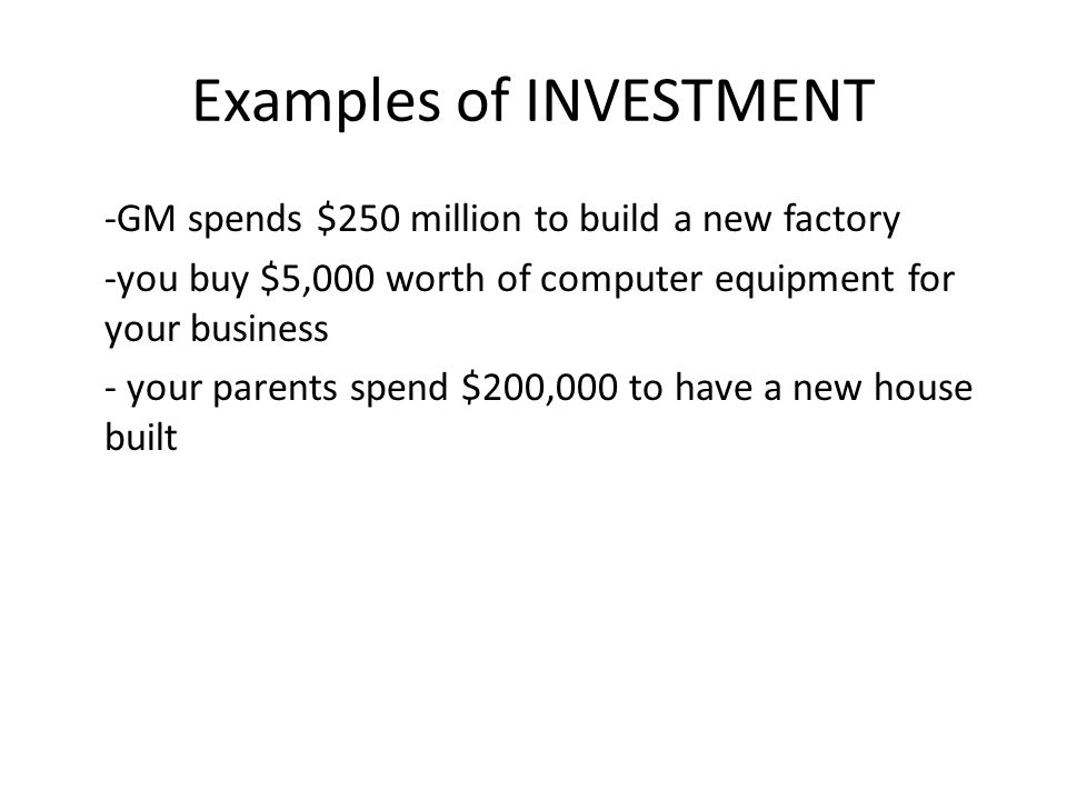 Examples of INVESTMENT