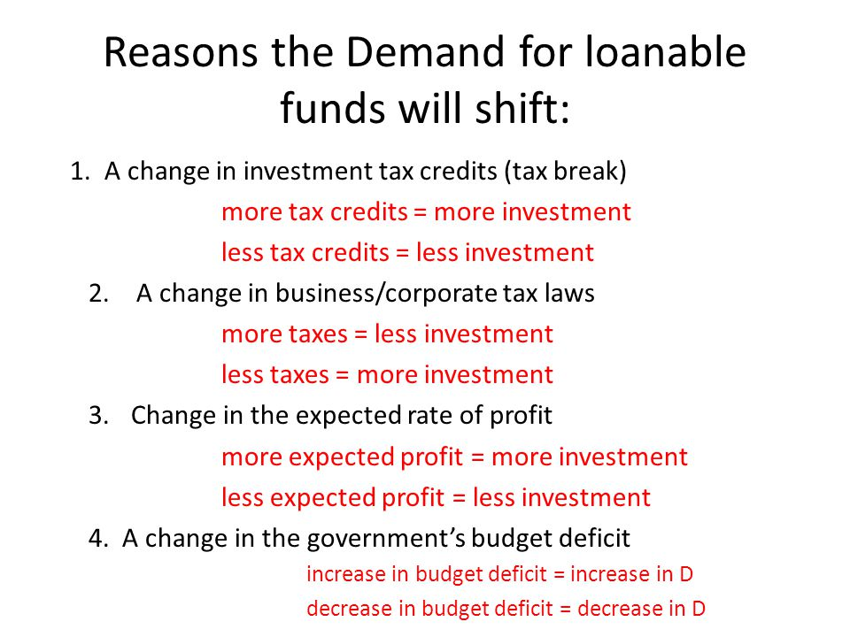 Reasons the Demand for loanable funds will shift: