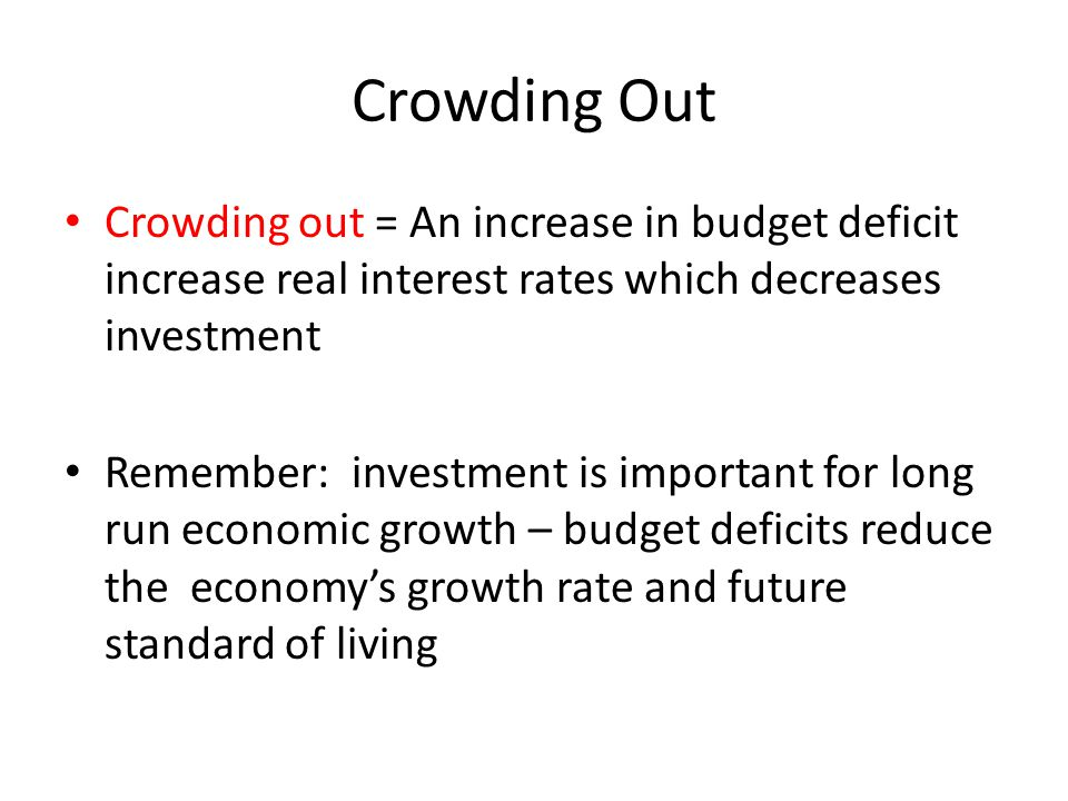 Crowding Out Crowding out = An increase in budget deficit increase real interest rates which decreases investment.