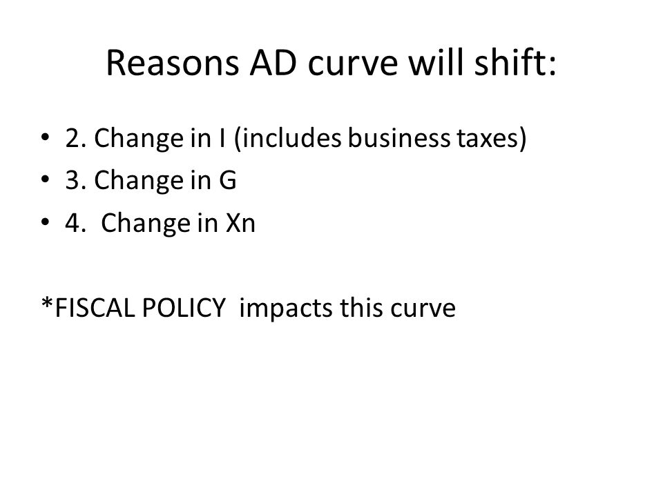 Reasons AD curve will shift: