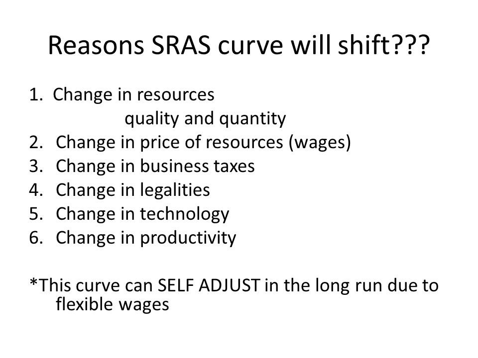 Reasons SRAS curve will shift