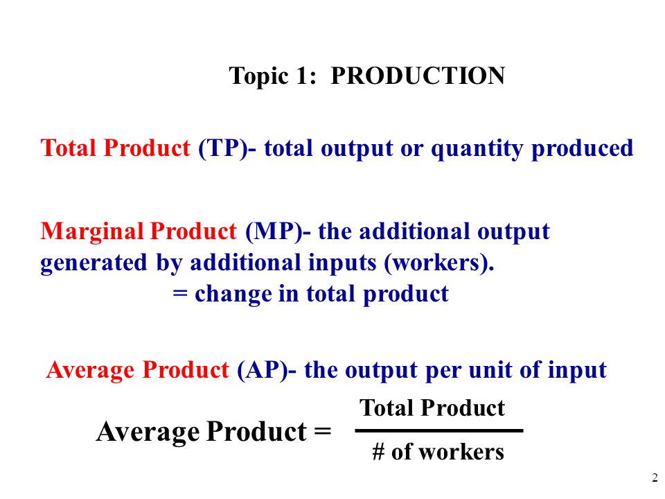 Average Product = Topic 1: PRODUCTION