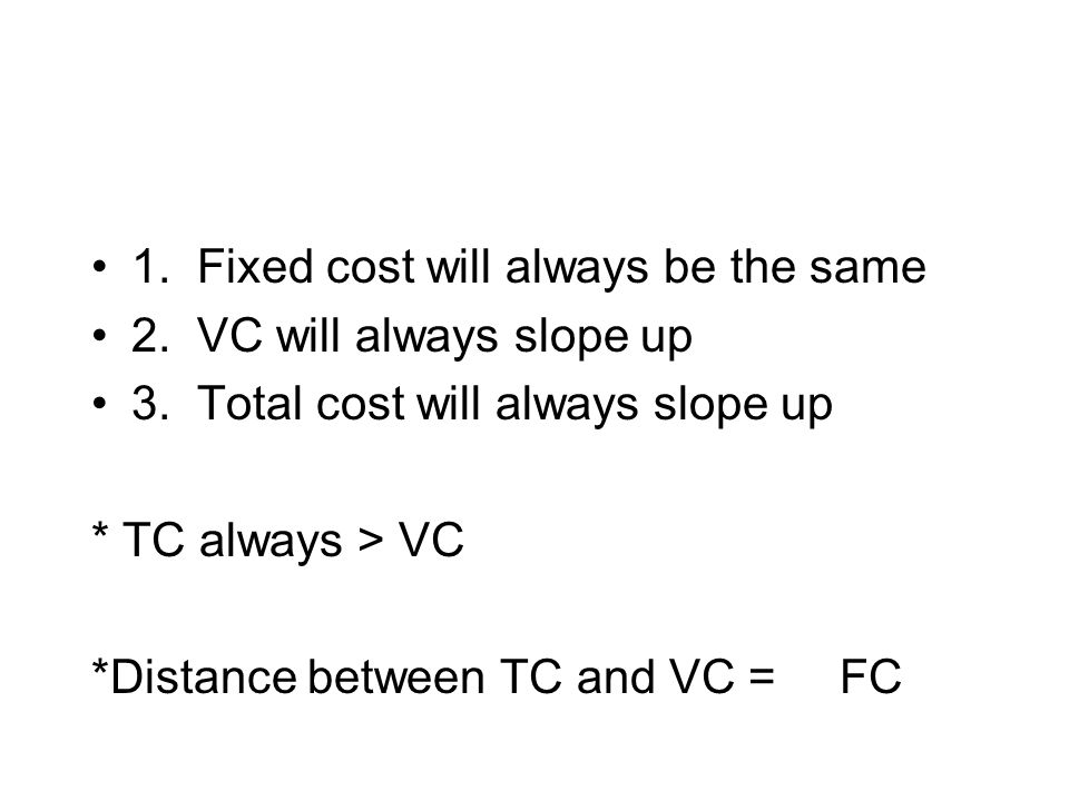 1. Fixed cost will always be the same