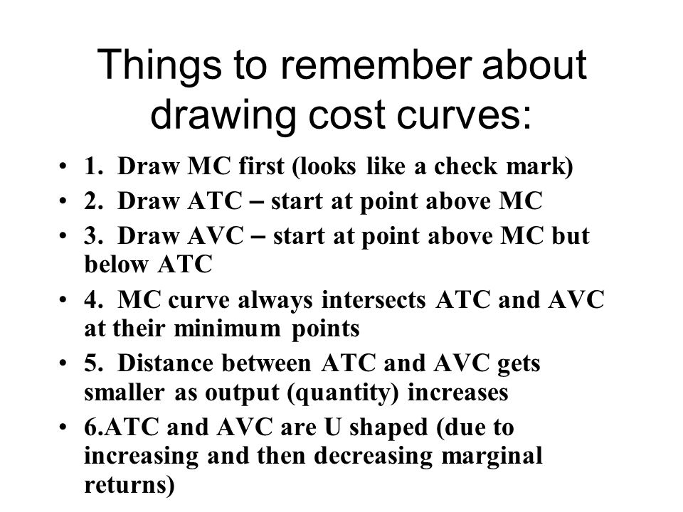 Things to remember about drawing cost curves: