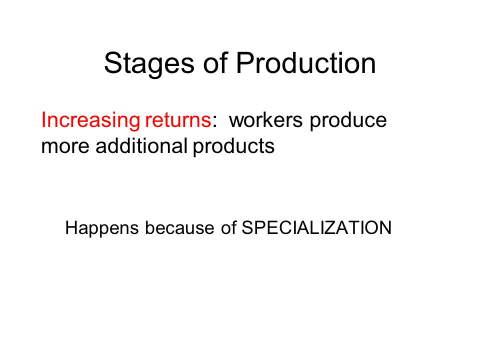Stages of Production Increasing returns: workers produce more additional products.