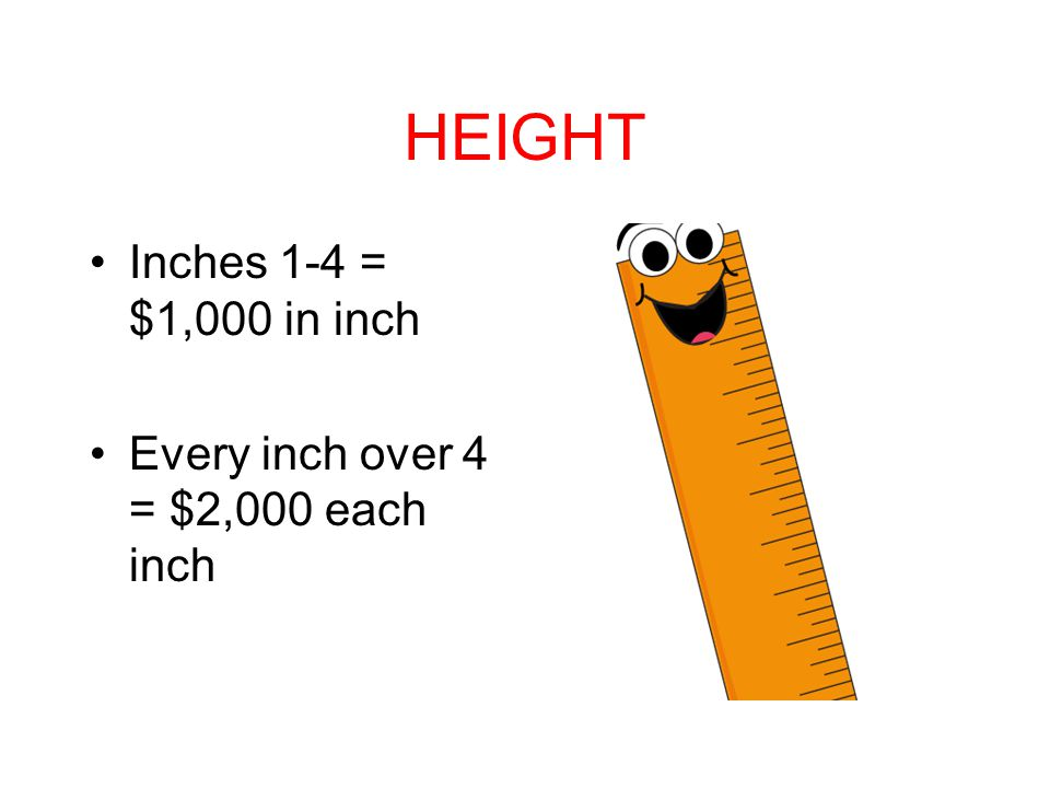 HEIGHT Inches 1-4 = $1,000 in inch