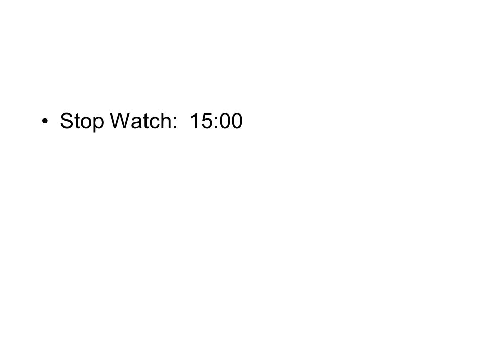 Stop Watch: 15:00