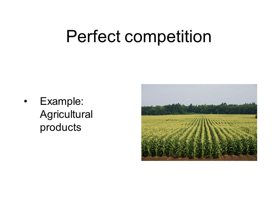 Perfect competition Example: Agricultural products