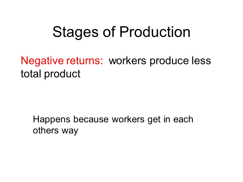 Stages of Production Negative returns: workers produce less total product.