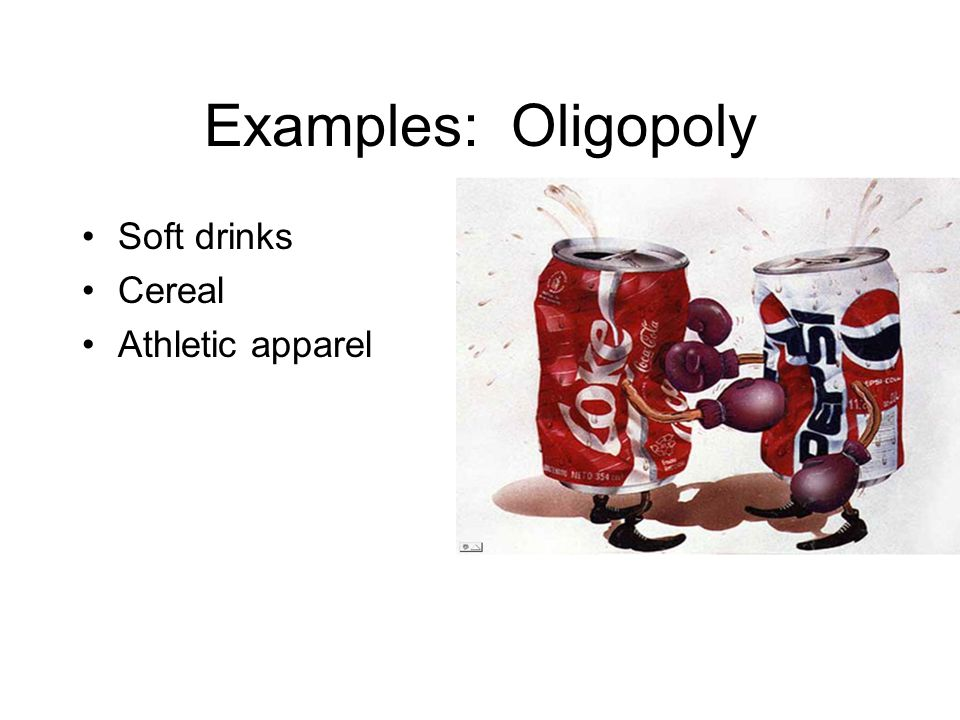 Examples: Oligopoly Soft drinks Cereal Athletic apparel