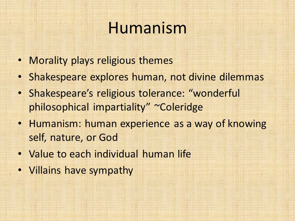 Humanism Morality plays religious themes