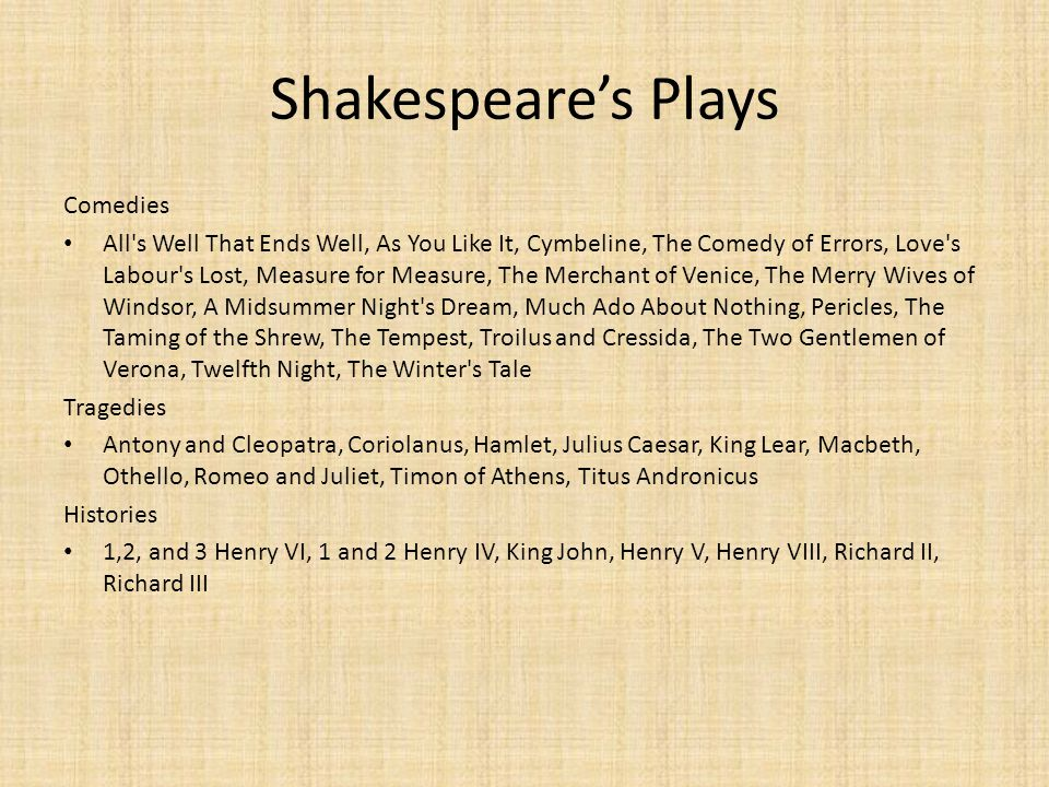 Shakespeare's Plays Comedies
