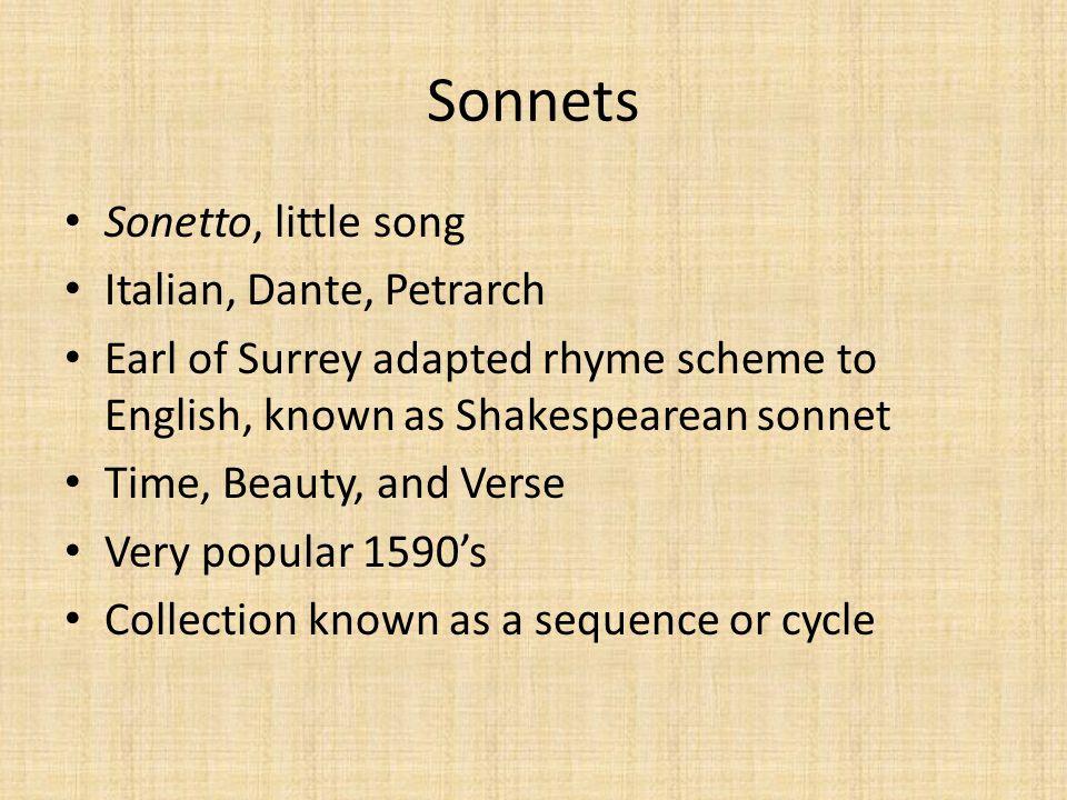 Sonnets Sonetto, little song Italian, Dante, Petrarch