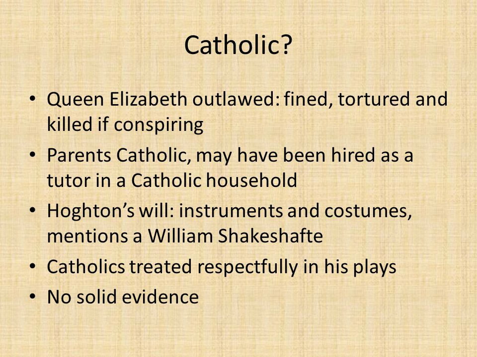 Catholic Queen Elizabeth outlawed: fined, tortured and killed if conspiring.