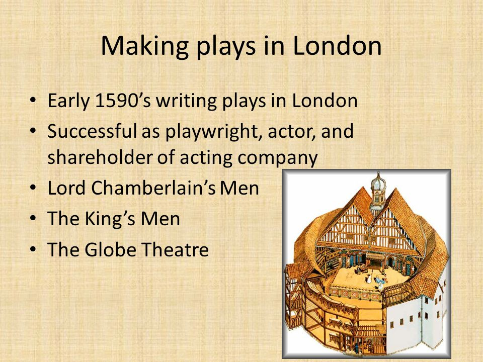 Making plays in London Early 1590's writing plays in London