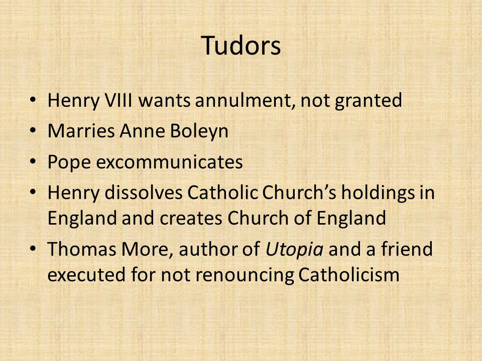 Tudors Henry VIII wants annulment, not granted Marries Anne Boleyn