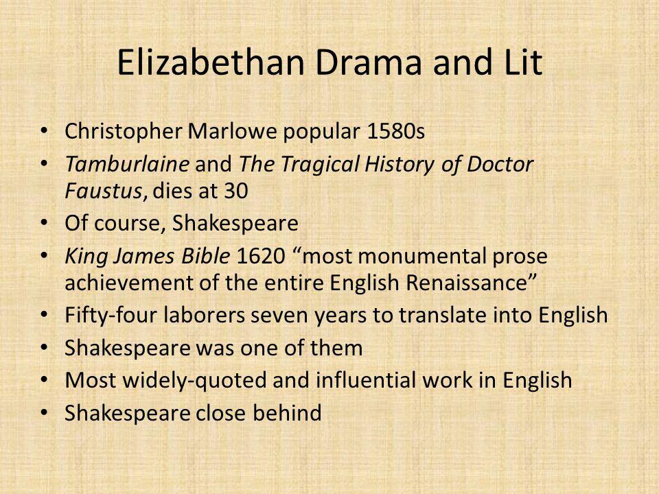Elizabethan Drama and Lit