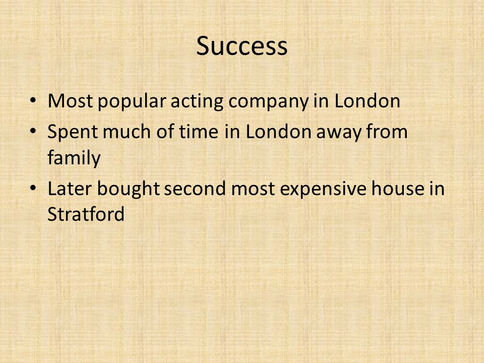 Success Most popular acting company in London
