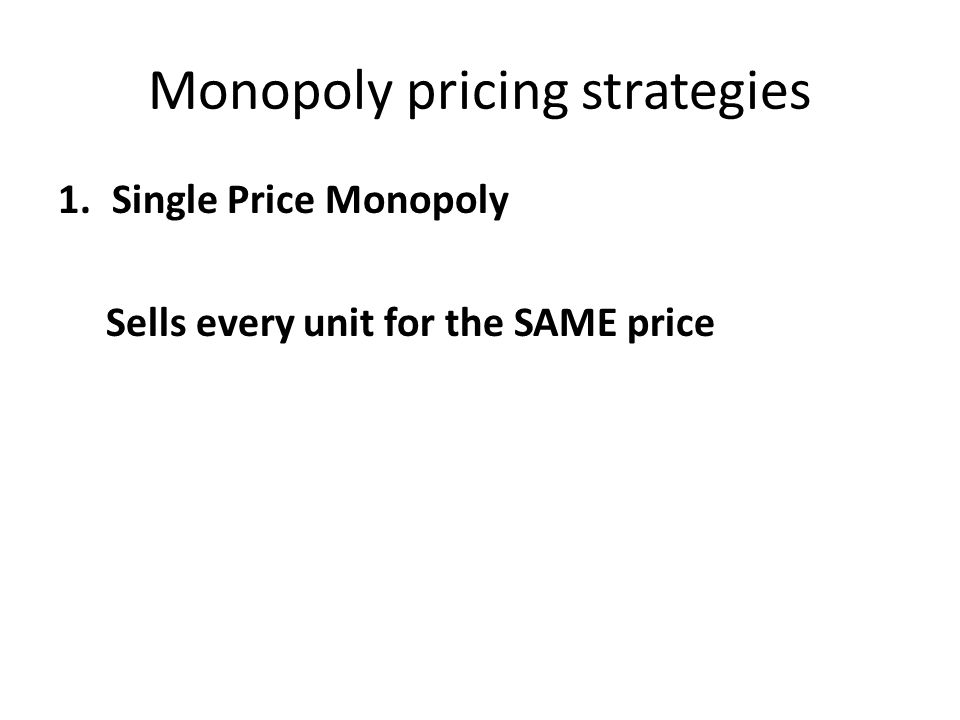 Monopoly pricing strategies