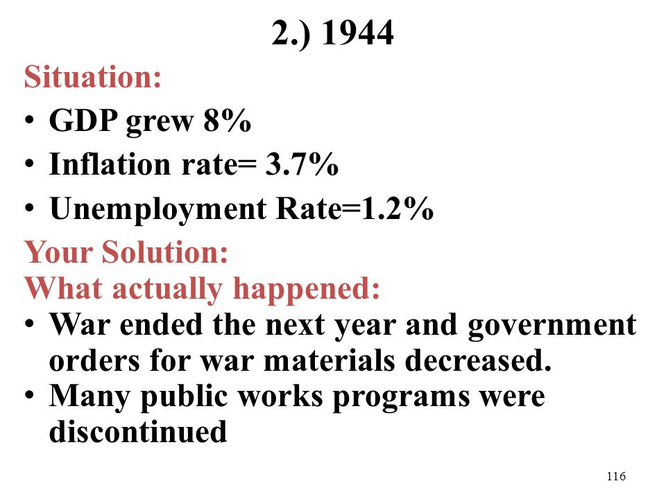 2.) 1944 Situation: GDP grew 8% Inflation rate= 3.7%