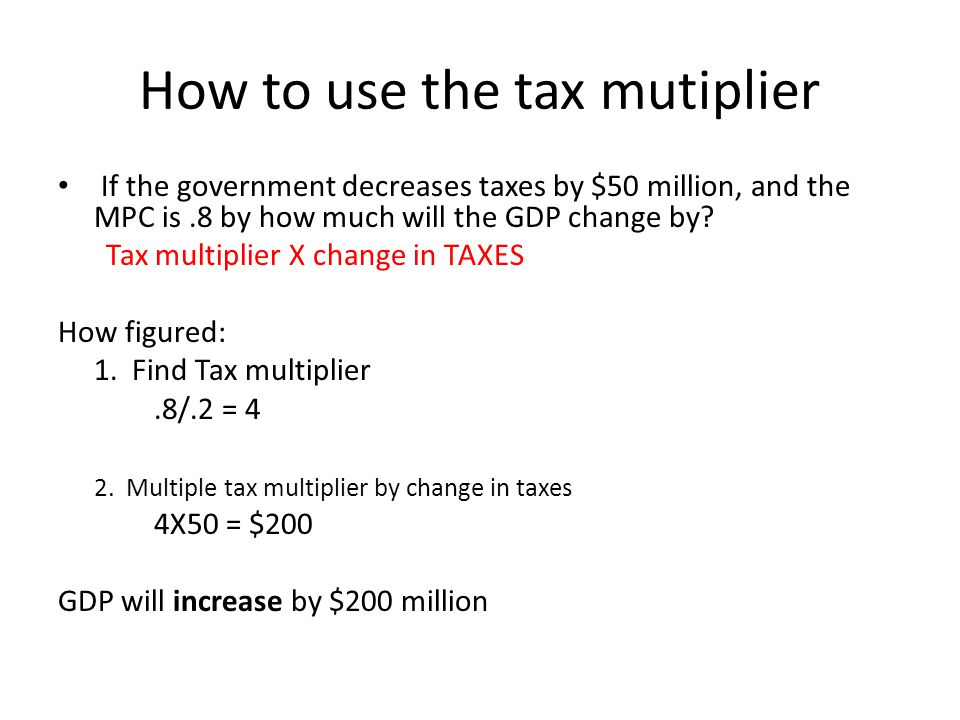 How to use the tax mutiplier