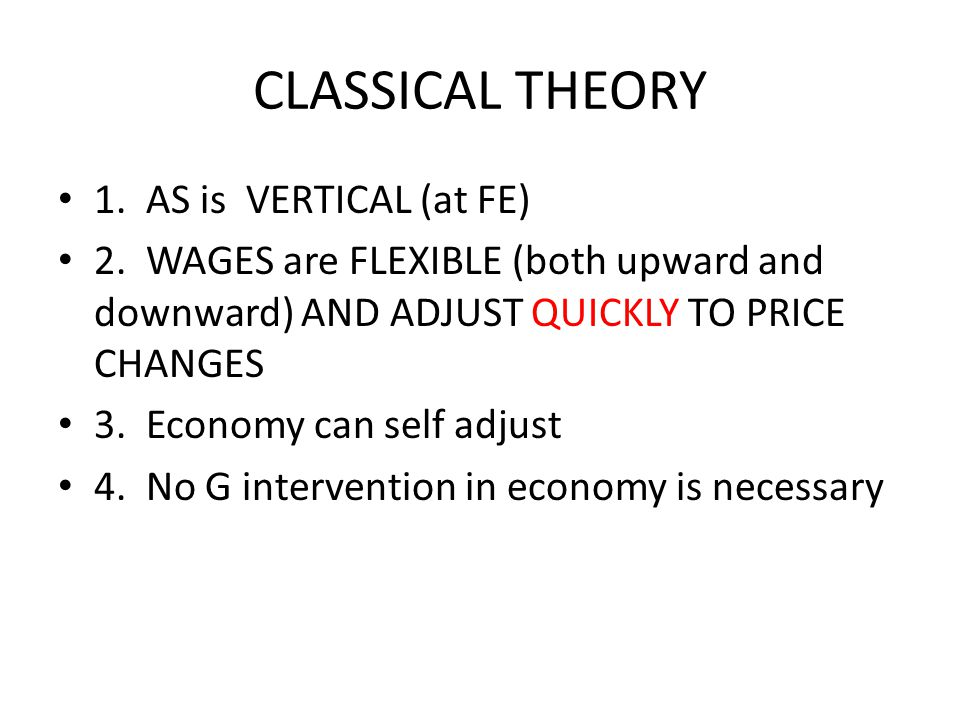 CLASSICAL THEORY 1. AS is VERTICAL (at FE)