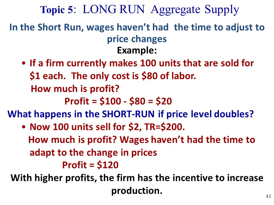 Topic 5: LONG RUN Aggregate Supply