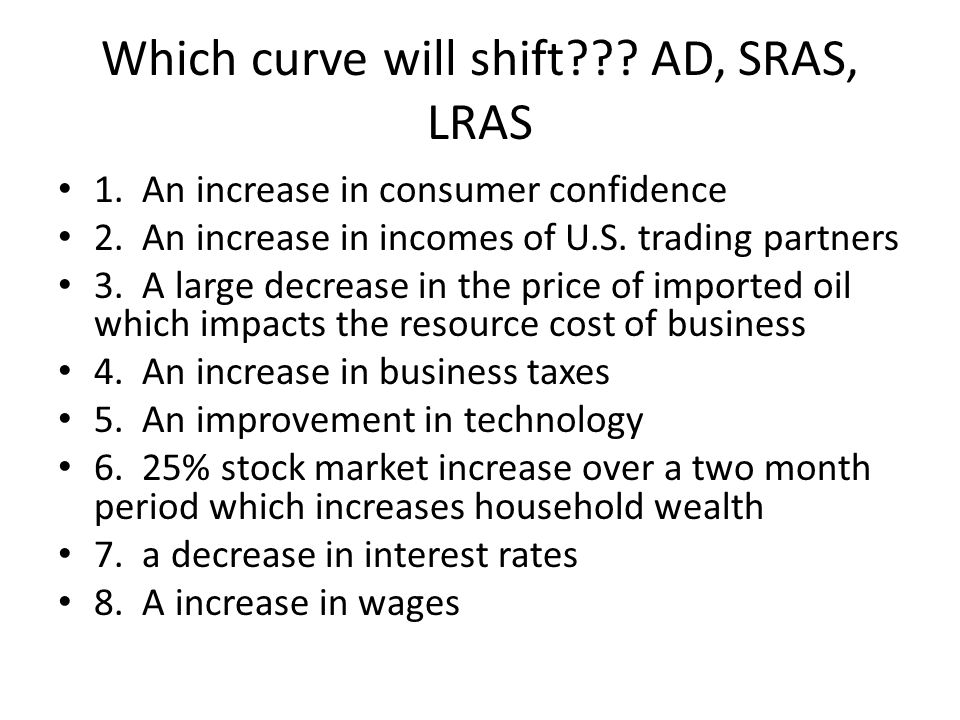 Which curve will shift AD, SRAS, LRAS