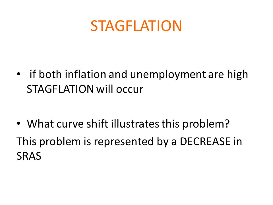 STAGFLATION if both inflation and unemployment are high STAGFLATION will occur. What curve shift illustrates this problem