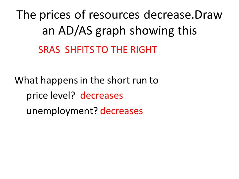 The prices of resources decrease.Draw an AD/AS graph showing this
