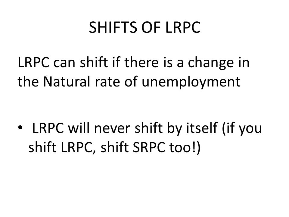 SHIFTS OF LRPC LRPC can shift if there is a change in the Natural rate of unemployment.