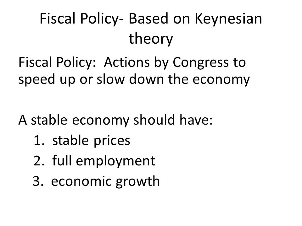 Fiscal Policy- Based on Keynesian theory