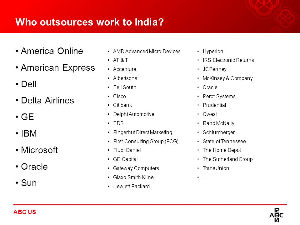 Who outsources work to India