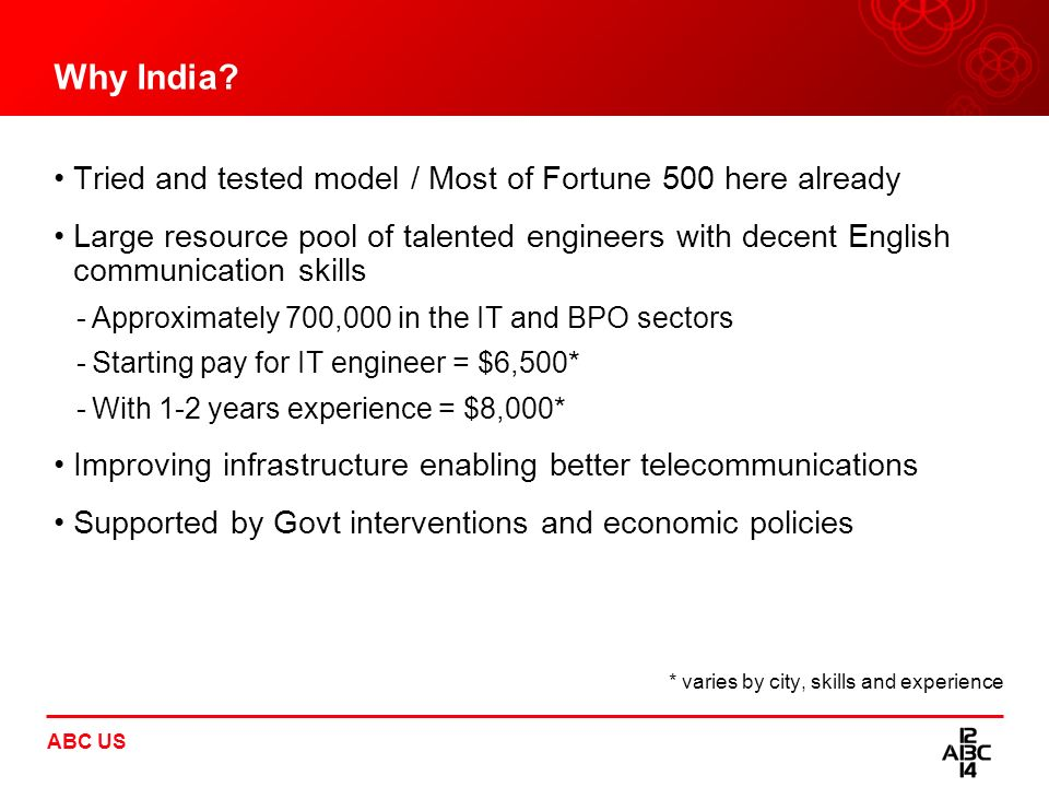 Why India Tried and tested model / Most of Fortune 500 here already