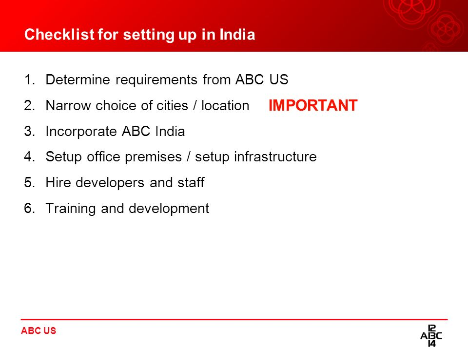 Checklist for setting up in India
