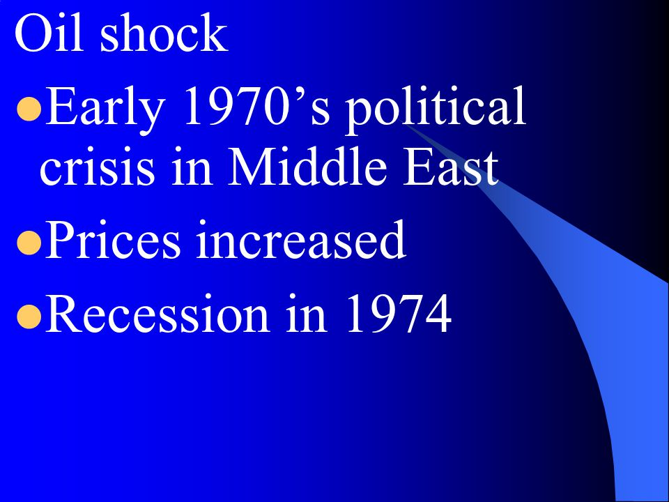 Oil shock Early 1970's political crisis in Middle East Prices increased Recession in 1974