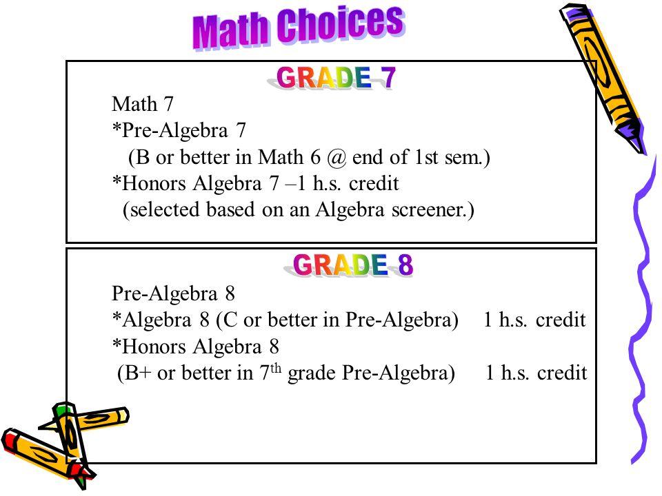 Math Choices GRADE 7 GRADE 8 Math 7 *Pre-Algebra 7