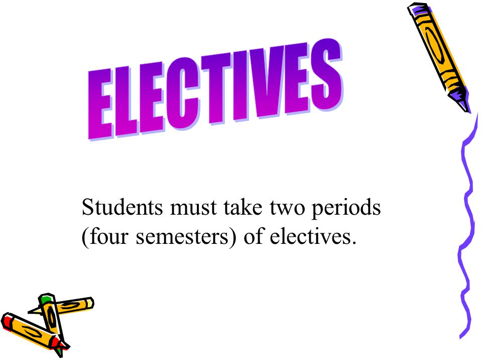 ELECTIVES Students must take two periods (four semesters) of electives.
