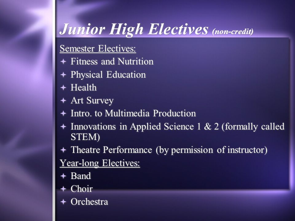 Junior High Electives (non-credit)
