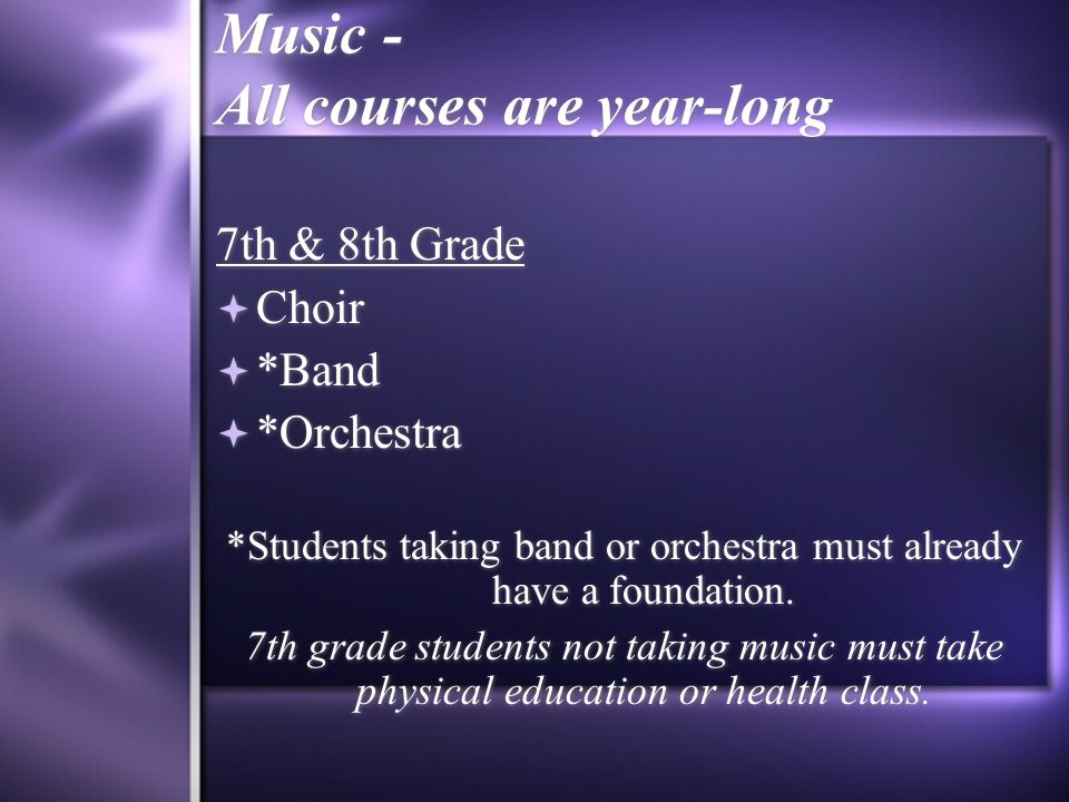 Music - All courses are year-long