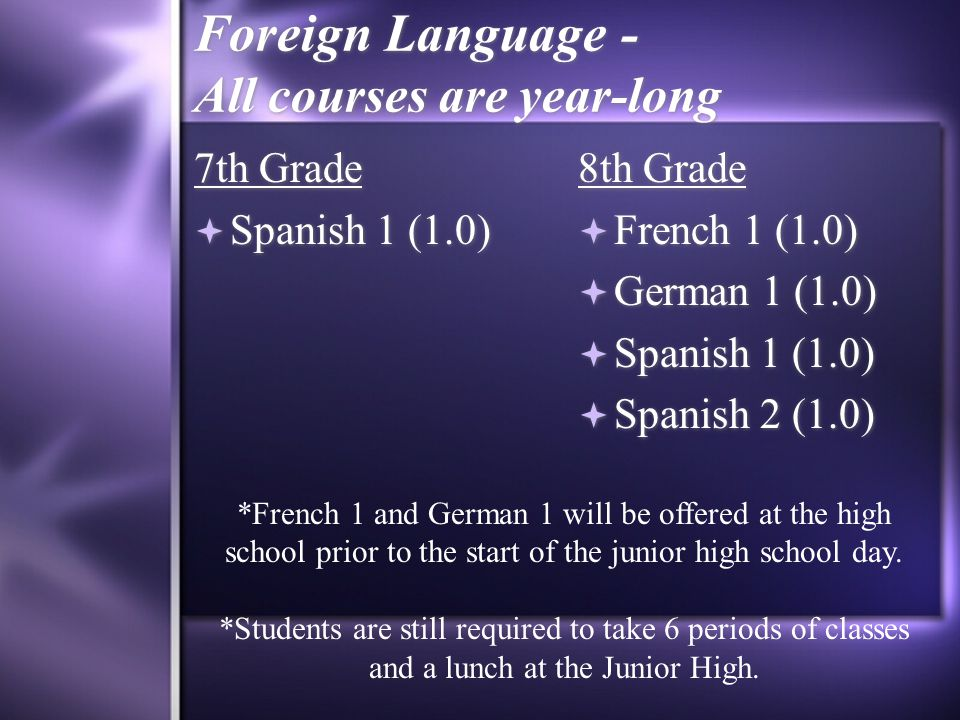 Foreign Language - All courses are year-long